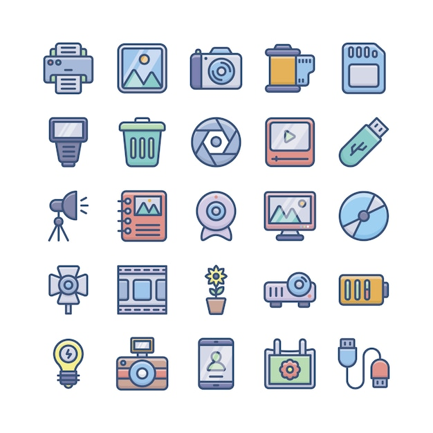 Photography icons pack Premium Vector