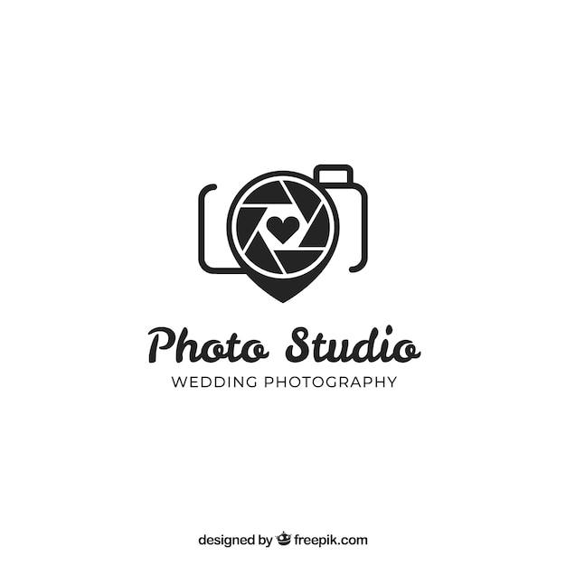 Photography logo in black color Free Vector