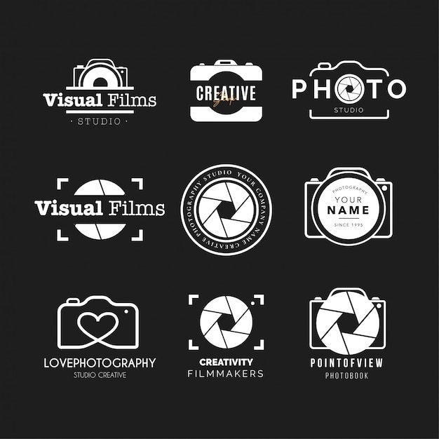 Photography logo collection Free Vector