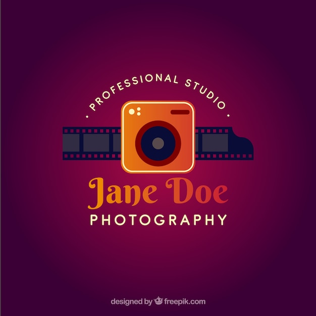 Photography logo with gradient colors Free Vector
