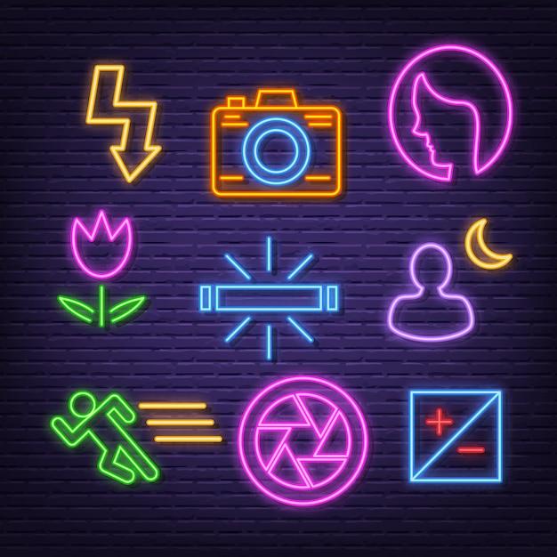 Photography neon icons Premium Vector