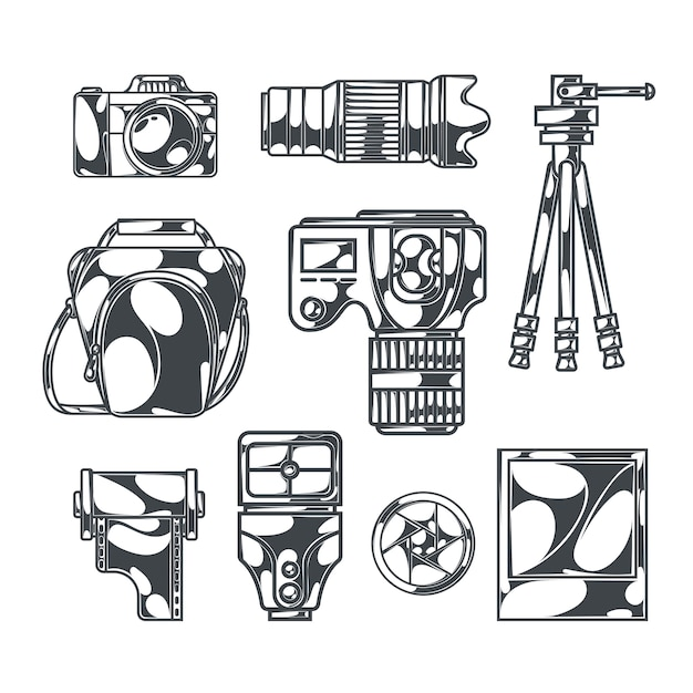 Набор для фотосъемки с изолированными монохромными изображениями цифровых зеркальных фотоаппаратов с аксессуарами и штативами Бесплатные векторы