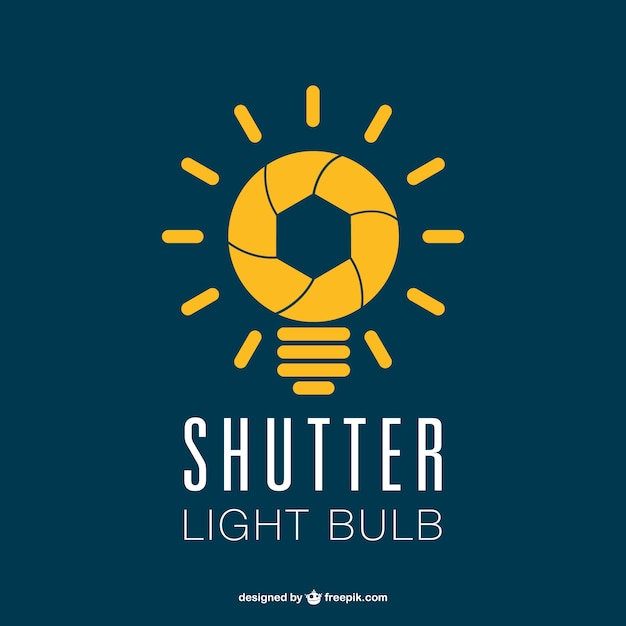 photography shutter lightbulb logo vector free download