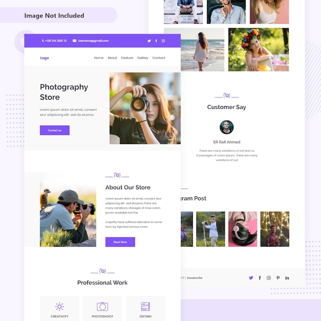 Photography store email landing page Premium Vector