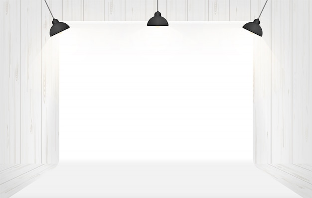 Photography studio background with lighting in white room space.. Premium Vector