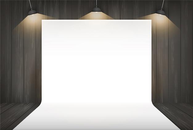 Photography studio background with lighting. Premium Vector