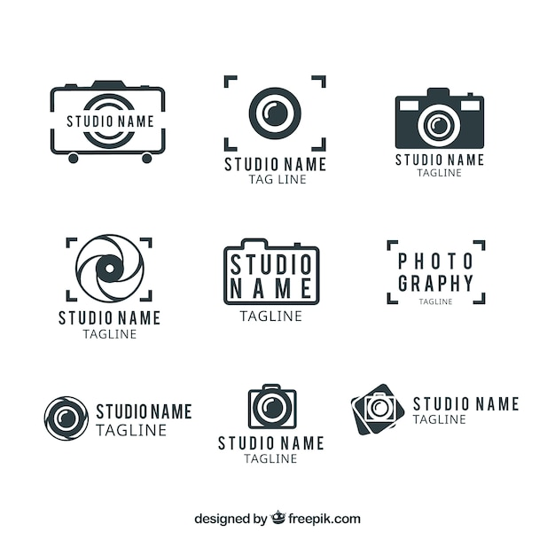 Photography studio logo template Free Vector