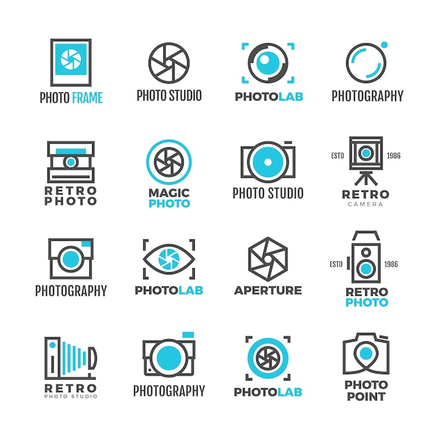Photography studio logo vintage for photographer Premium Vector