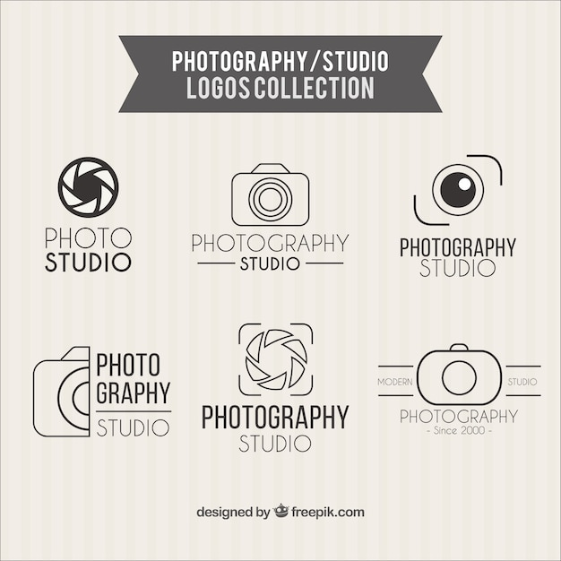 Photography studio logos collection Free Vector