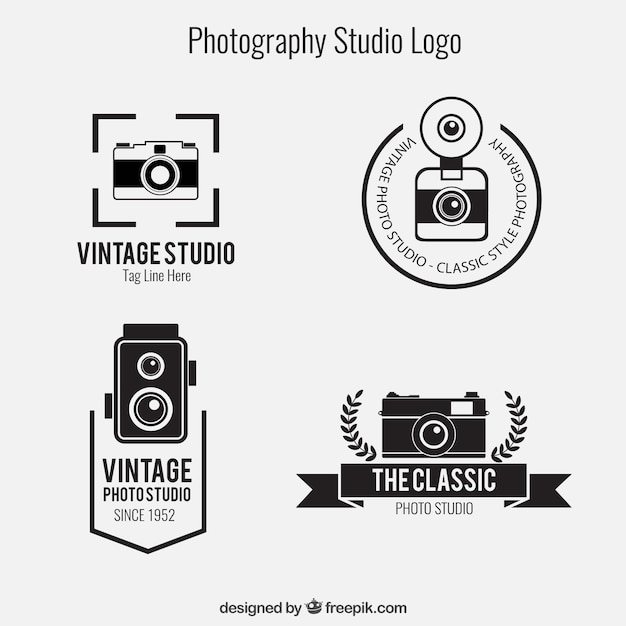 Photography studio logos pack Free Vector