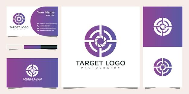 Фотография целевой логотип дизайн и визитная карточка Premium векторы