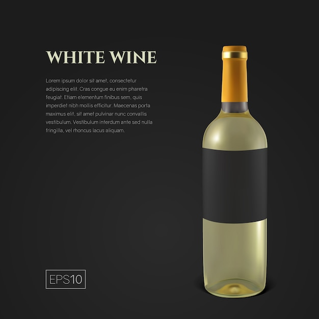 黒の背景に白ワインの写実的なボトル。透明なワインのボトル。製品のプレゼンテーションやミニマルなスタイルの広告のテンプレートです。 Premiumベクター