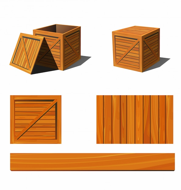 Photorealistic wooden box and textures.   illustration. Premium Vector