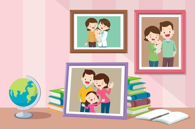 부모와 함께 자라는 유아의 딸 사진. 프리미엄 벡터
