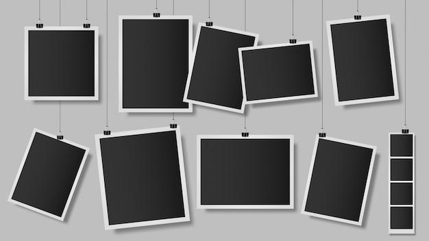 Фотографии на клипах. фоторамка на стене, старинные пустой шаблон фотографии, висит альбом снимок альбома. ретро фото воспоминания иллюстрации. старинные изображения памяти Premium векторы
