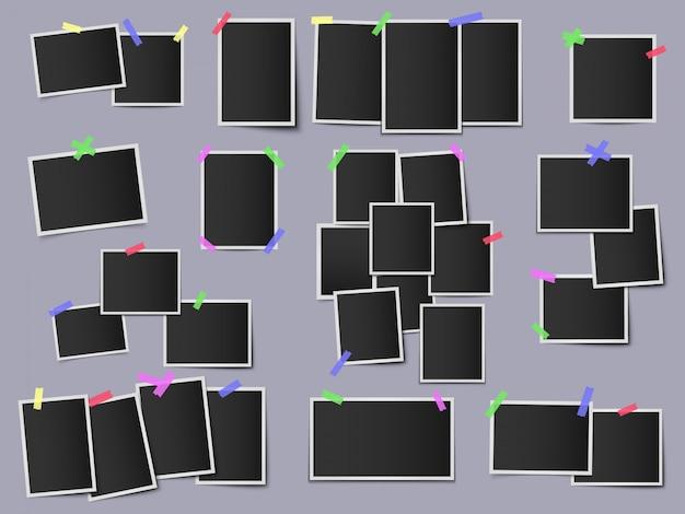 Фотографии на цветных клейких лентах. старинные фоторамки, битник снимки макет стены фото, висит мгновенный фото шаблон иллюстрации набор. рамка фото, снимок пустой и цветной ленты Premium векторы