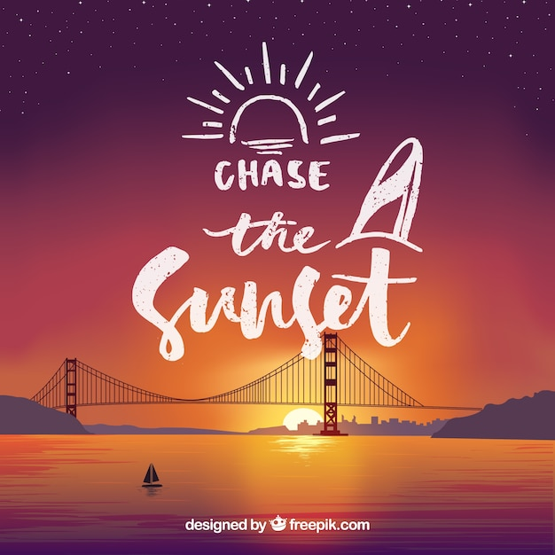 Phrase with a bridge background Free Vector