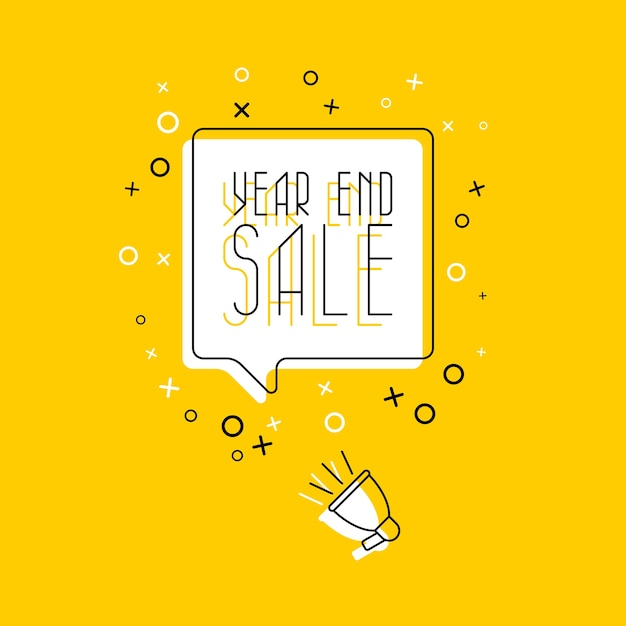 黄色の吹き出しと白い背景のメガホンでフレーズ「年末セール」。平らな細い線。現代のバナービジネス、マーケティング。 Premiumベクター