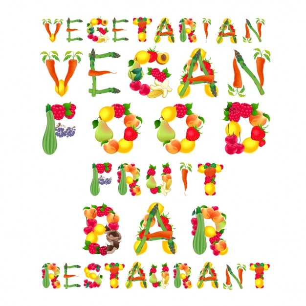 Phrases with vegetables for vegetarian restaurant Free Vector