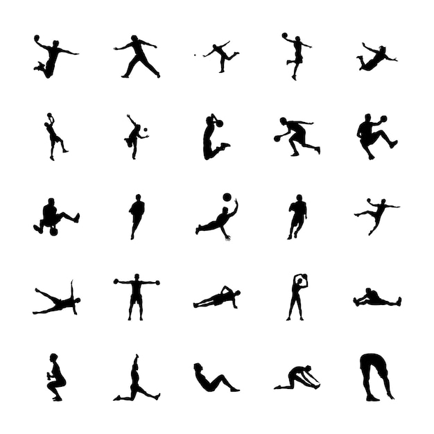 Physical activities silhouettes icons pack Premium Vector