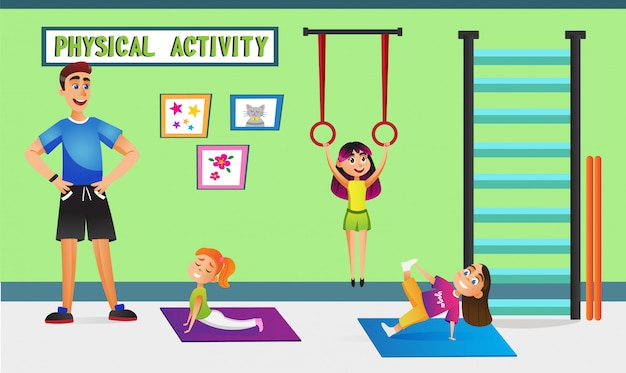 Physical activity, children with teacher in gym. Premium Vector