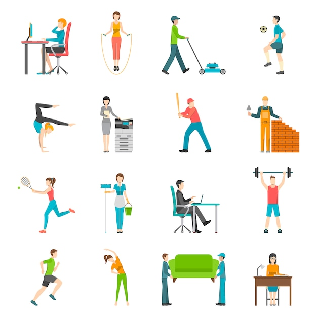 Physical activity flat icons Free Vector