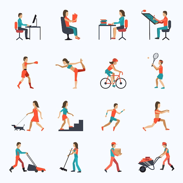 Physical activity icons Free Vector