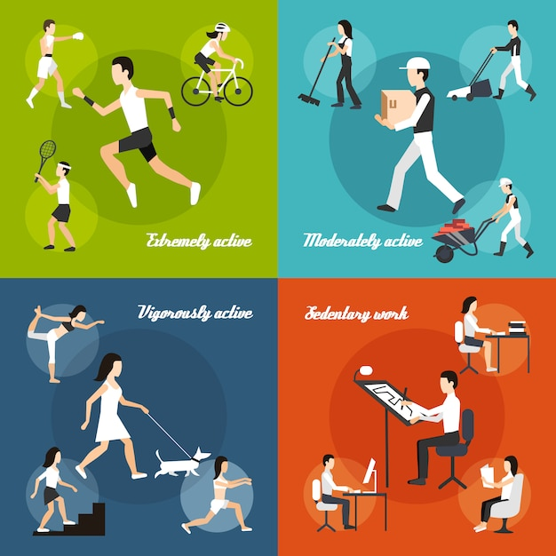 Physical activity set Free Vector