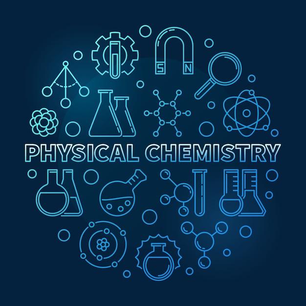 Physical chemistry blue modern line round icon illustration Premium Vector