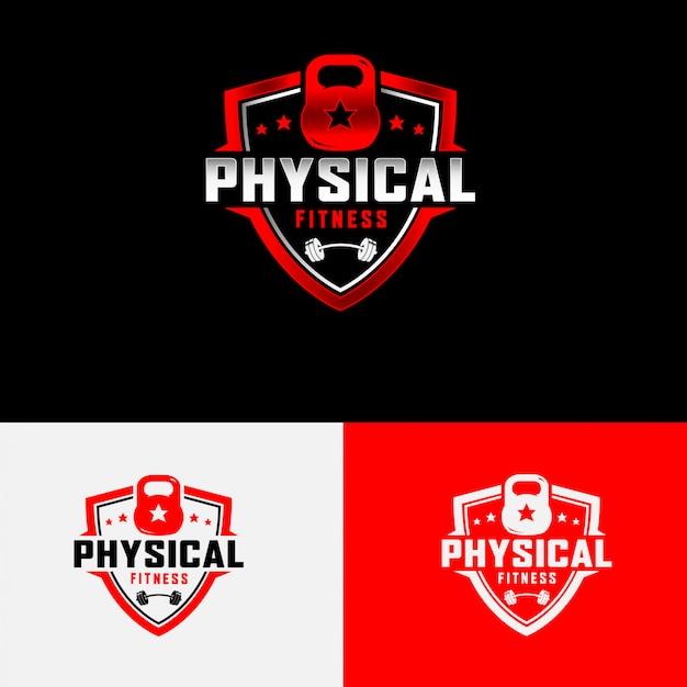 Physical fitness logo Premium Vector