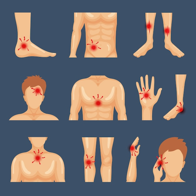 Physical injury. body parts shoulders trauma pain legs healthy lifestyle flat symbols. illustration physical human injury trauma, pain body dots Premium Vector