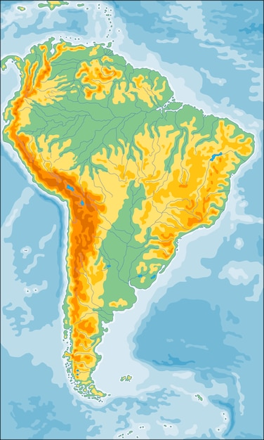 Physical south america map Premium Vector