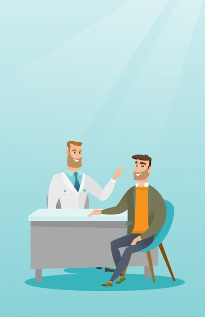 Physician consulting male patient in office. Premium Vector