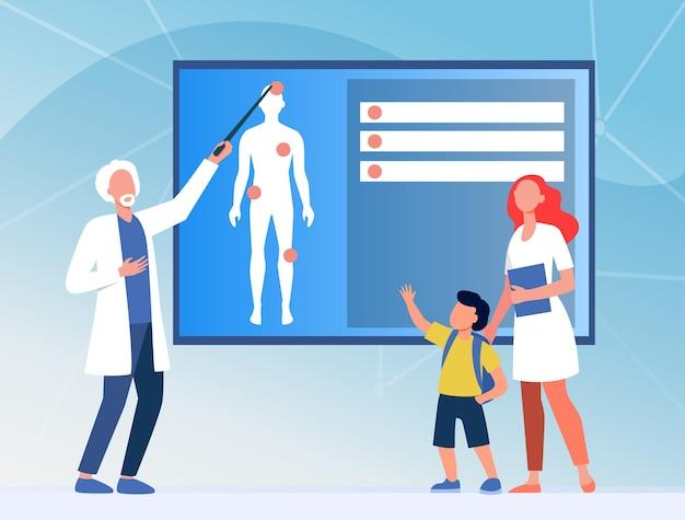 Врач объясняет ребенку анатомию человека. медсестра, мальчик, плоская векторная иллюстрация тела. медицина и образование Бесплатные векторы