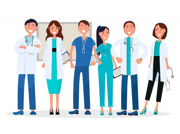 Physicians in uniform. medical advisers vector healthcare workers with stethoscopes, tablets and badge. Premium Vector