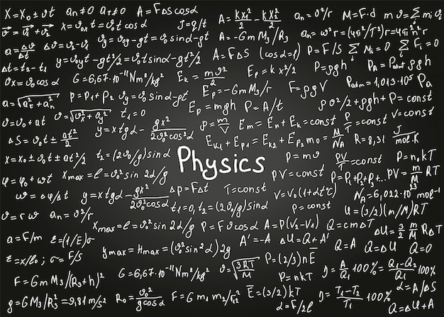 Physics formulas drawn by hand on the black chalkboard for the background. Premium Vector
