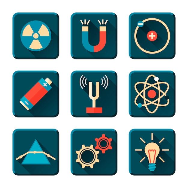 Physics icons in flat design style Premium Vector