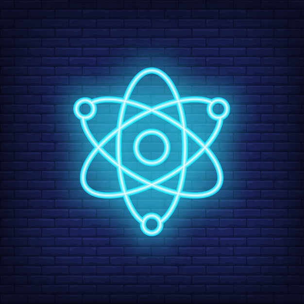 Physics neon sign. motion of atoms. night bright advertisement. Free Vector