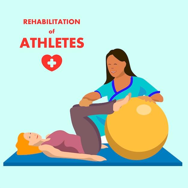 Физиотерапевтические упражнения на рекламном плакате fitball Premium векторы