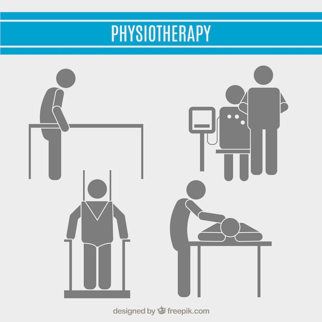 Physiotheraphy pictogram collection