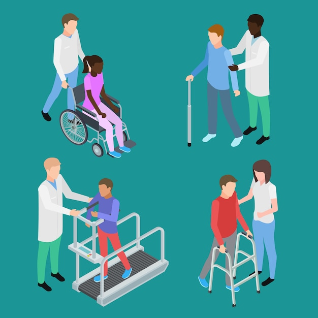 Physiotherapy and medical rehabilitation for teenagers and adults set Premium Vector