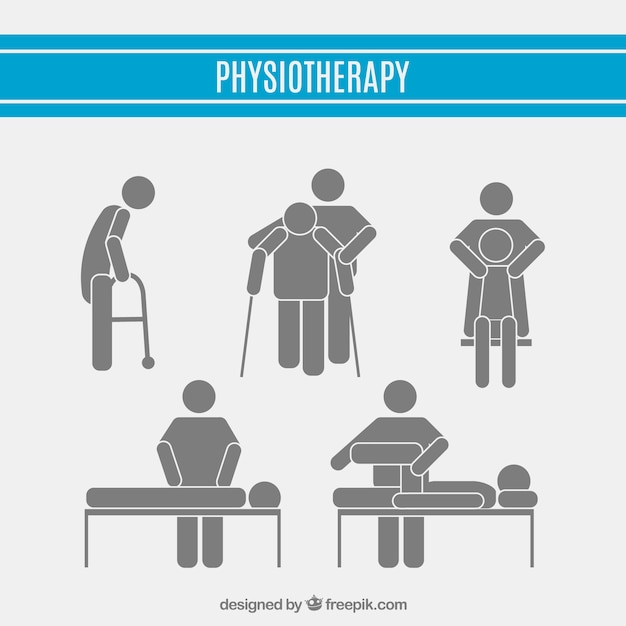 Physiotherapy pictograms set Free Vector