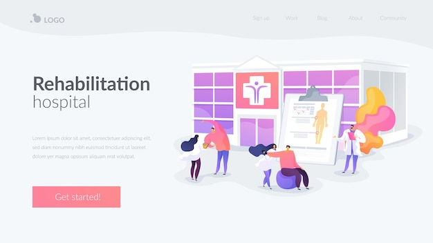 Physiotherapy and rehab clinic landing page template Free Vector