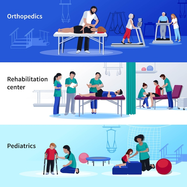 Physiotherapy rehabilitation 3 flat horizontal center Free Vector