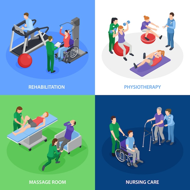 Физиотерапевтическая реабилитация 4 изометрические композиции с уходом, массаж, лечение, силовые упражнения, баланс Бесплатные векторы
