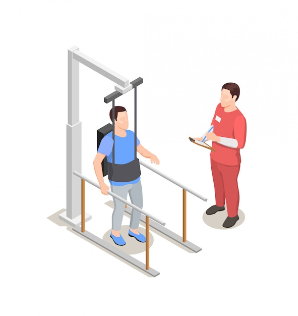 Physiotherapy rehabilitation, characters of doctor and patient with physiotherapeutical equipment, illustration Free Vector