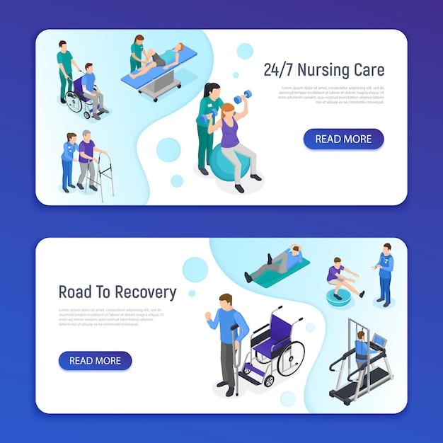 Физиотерапевтическая реабилитационная клиника. 2 изометрических горизонтальных веб-баннера с медсестринским уходом. Бесплатные векторы