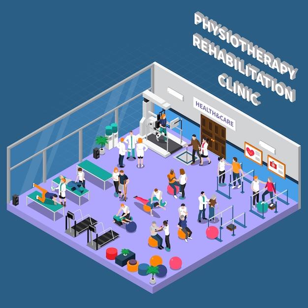Interno della clinica di riabilitazione di fisioterapia Vettore gratuito