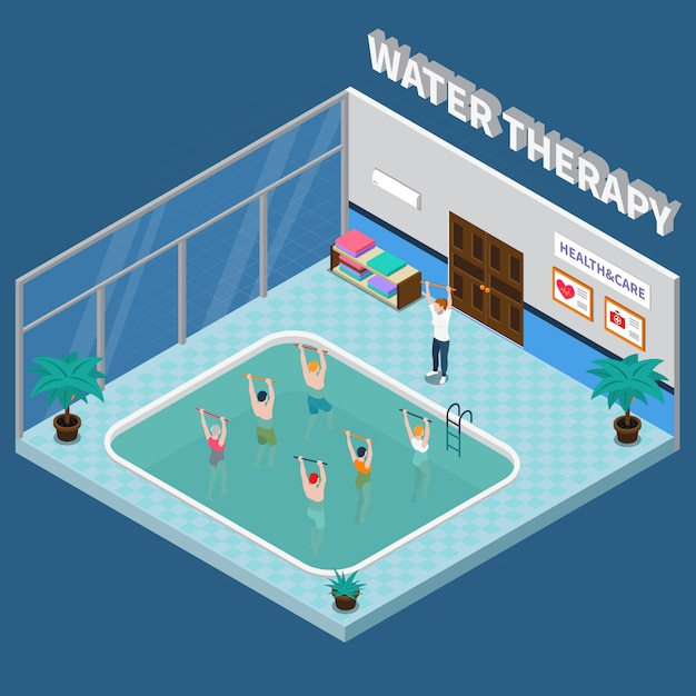Physiotherapy rehabilitation clinic isometric interior Free Vector