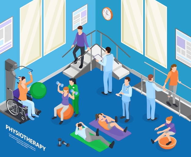 Physiotherapy rehabilitation facility clinic exercise hall speeding recovery physical activities with therapist session isometric composition illustration Free Vector